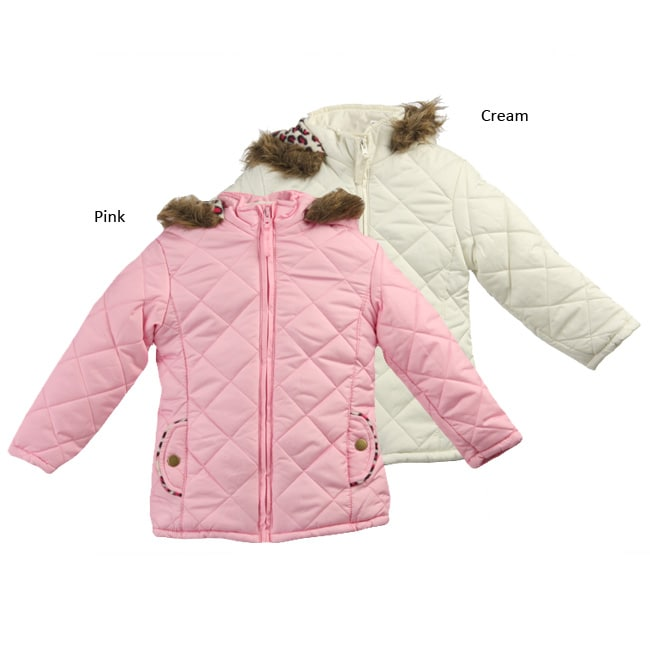Pink Platinum Toddler Girl's Quilted Hooded Coat