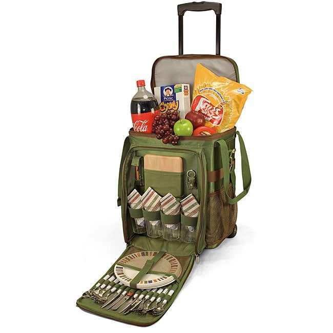 Picnic Time 'Avalanche' Pine Green Wheeled Picnic Cooler