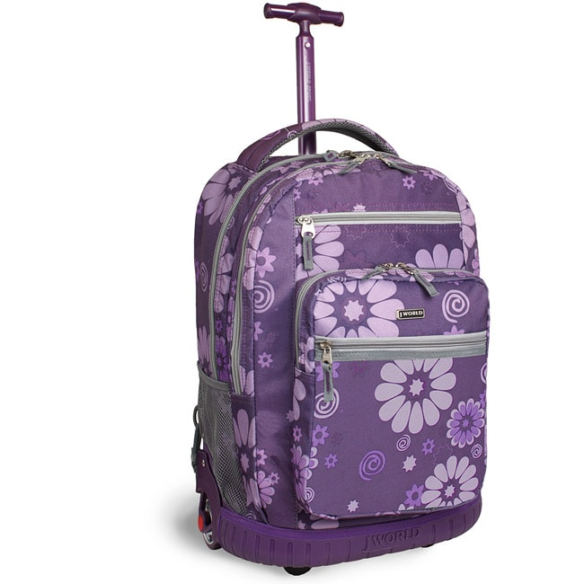 World Sundance 19.5 inch Purple Flower Rolling Backpack with