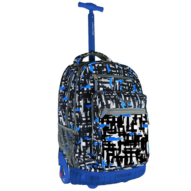 World 19.5 inch Touches Blue Rolling Backpack/ Laptop Sleeve