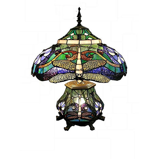 Tiffany-style Double-light Dragonfly Table Lamp