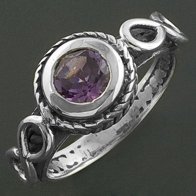 Braided Sterling Silver Amethyst Ring (India)