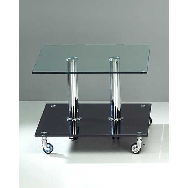 Furniture of America Rectangular Contoured Glass Top End Table