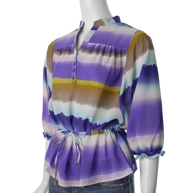 Ninety Women's 3/4-sleeve Y-neck Lavender Blouse