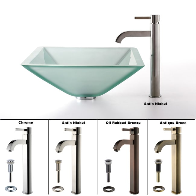 Kraus Aquamarine Frosted Glass Sink and Ramus Faucet