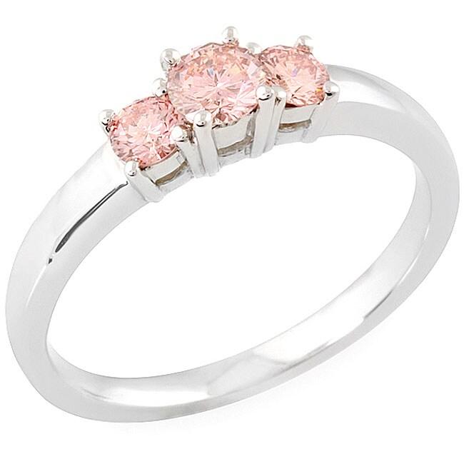 14k White Gold 1/2ct TDW Round-cut Pink Diamond Ring (SI1-SI2) (Size 6.5)