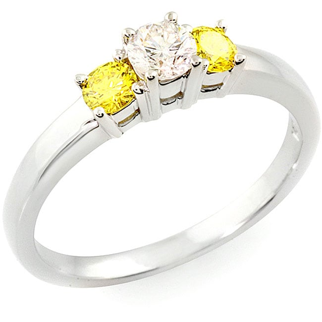 14k White Gold 1/2ct TDW White/ Yellow Diamond Ring (H, I1) (Size 6.5)