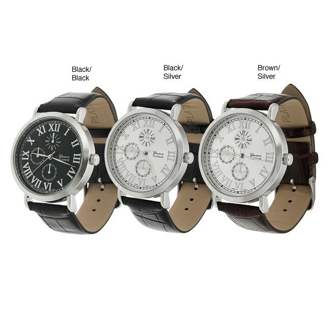 Geneva Platinum Men's Faux Leather Strap Watch