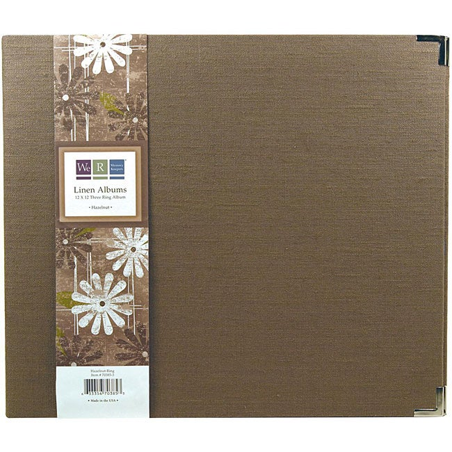 We r linen 12x12 hazelnut 3 ring binder 12264282 for American crafts 3 ring scrapbook album binder