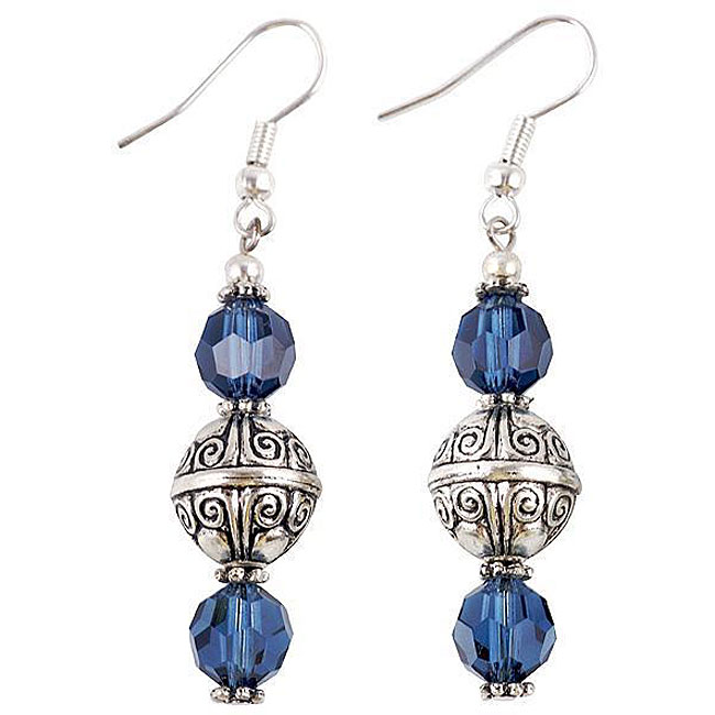 Silver Faceted Navy Blue Glass Earrings (Thailand)