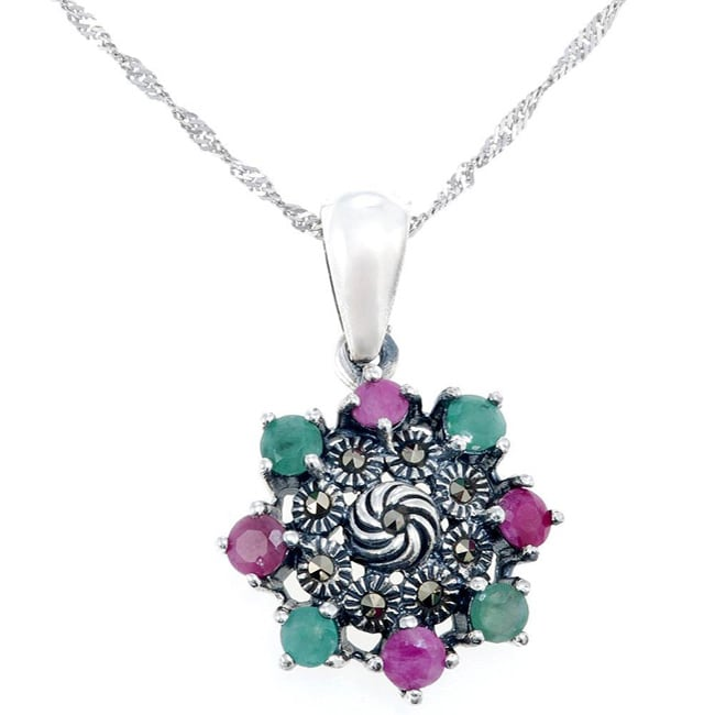 Sterling Silver Emerald and Ruby Pendant Necklace (Thailand)