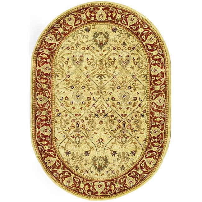 Safavieh Handmade Mahal Ivory/ Rust New Zealand Wool Rug (7'6 x 9'6 Oval)