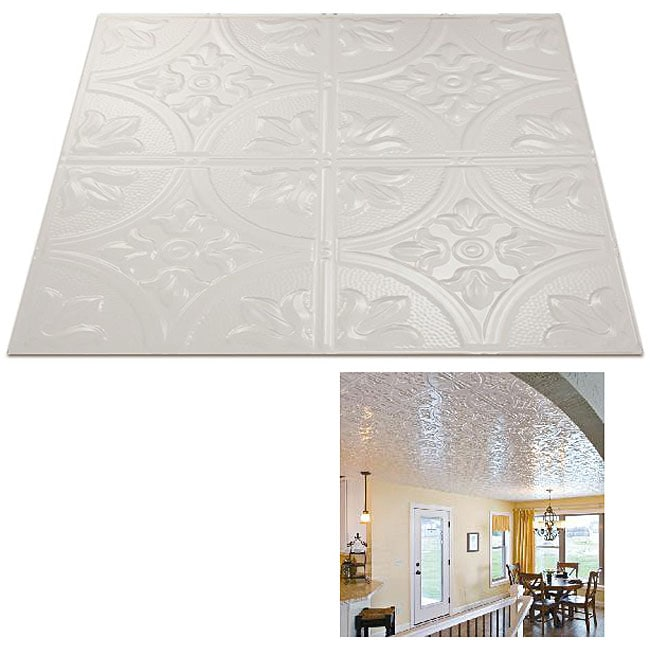 Fasade White 2x2-foot Ceiling Panels (Set of 12)
