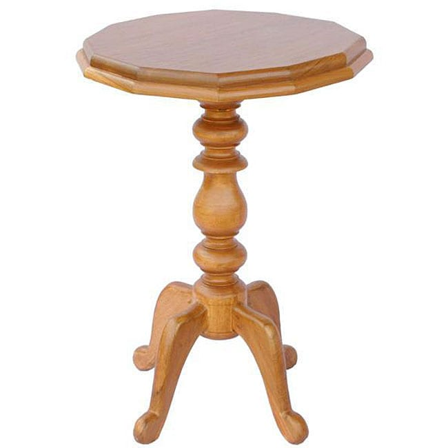 Hand-carved Natural Teak Wood Accent Table (Thailand