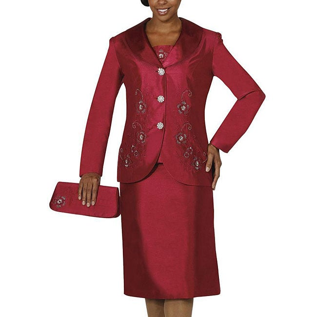 Nubiano Women's Plus Size Burgundy Shantung Skirt Suit