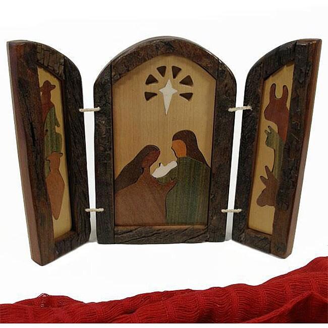 Wood Inlaid Triptych Nativity Scene (Argentina)