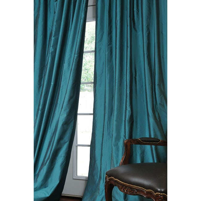 Exclusive Fabrics Faux Silk Signature Teal 96-inch Curtain Panel ...