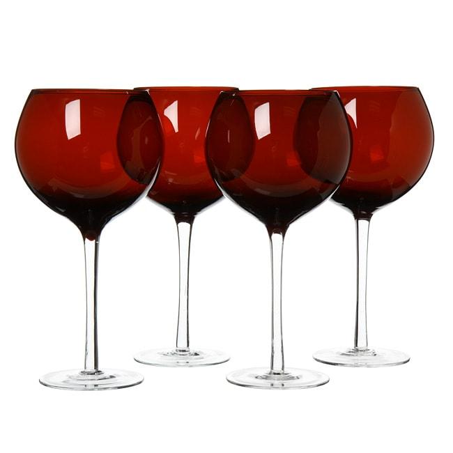 Certified International Ruby 28 Oz Red Wine Glasses Set