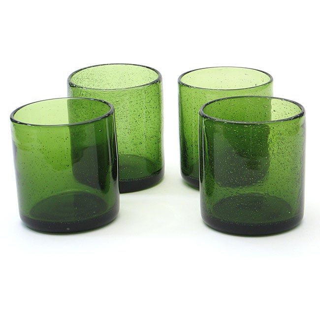 Certified International Green Bubble 14-oz Double Old Fashioned Glasses (Set of 8)