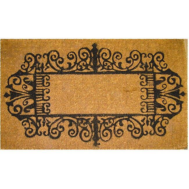 Black Wrought Iron Border Coconut Fiber Extra-thick Door Mat (1'6 x 2'6)