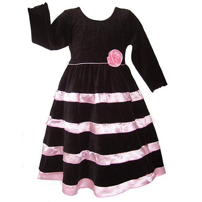 AnnLoren Girl's Black Velvet/ Pink Satin Holiday Dress