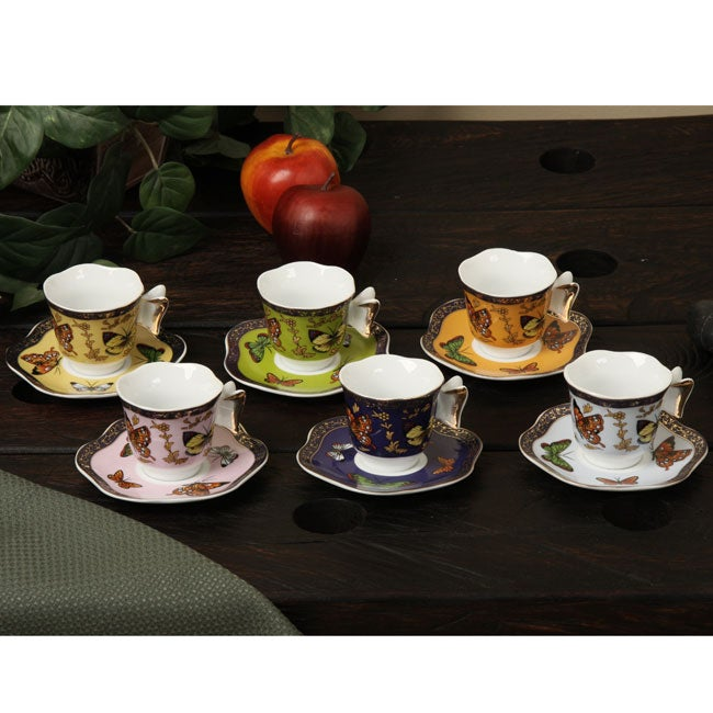 Classic coffee tea by yedi butterfly collection tea set for Alpine cuisine tea set