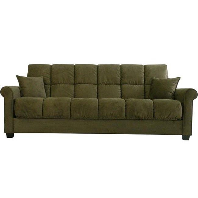Darien dark moss green microfiber futon sofa bed for Sofa bed overstock