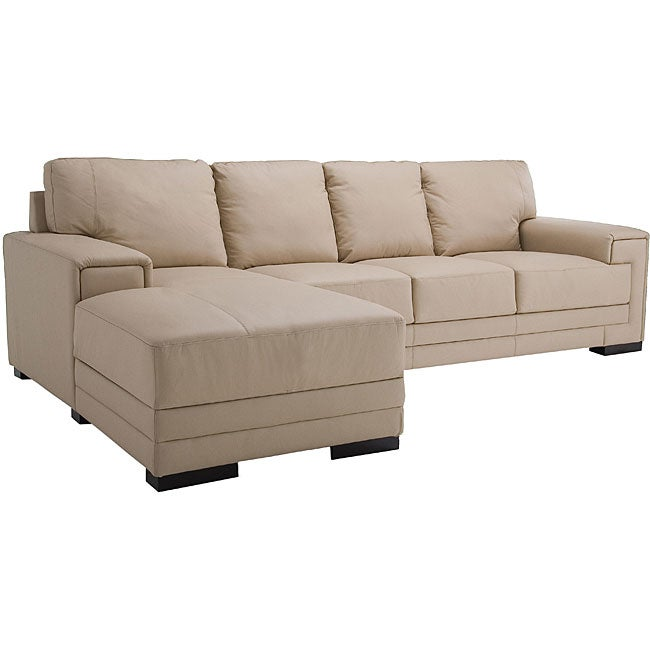 Quincy Cream Leather Sectional Sofa