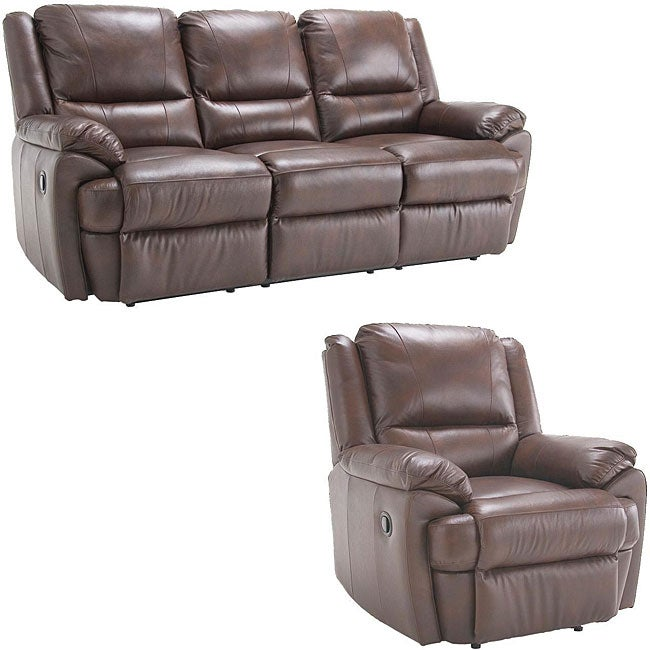 Marco Brown Reclining Leather Sofa And Reclining Leather