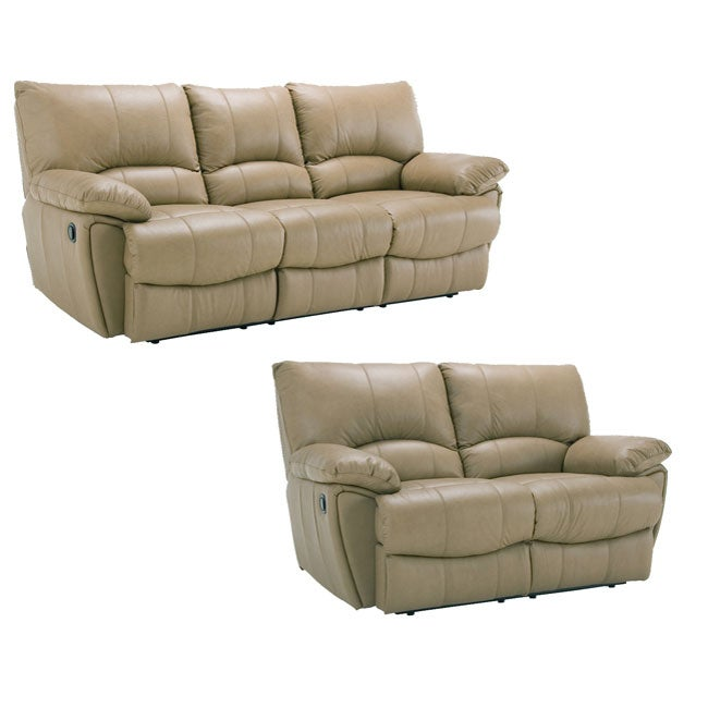 Oakley Tan Reclining Leather Sofa And Leather Loveseat