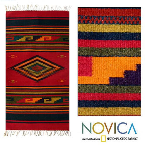 Mexican Zapotec 'Nature's Colors' Wool Rug (2'6 x 5')