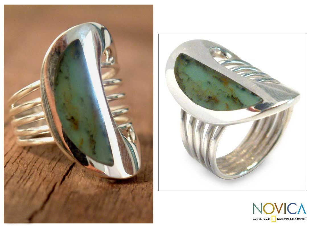 Sterling Silver 'Andean Moon' Opal Cocktail Ring (Peru)
