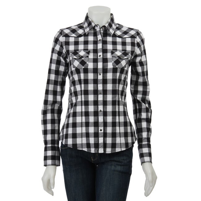 Yanuk Women's White/ Black Plaid Shirt