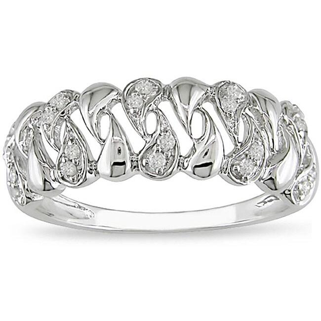 Miadora 10k White Gold 1/10ct TDW Diamond Anniversary Ring (H-I, I2-I3)
