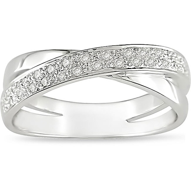 10k Gold 1/6ct TDW Diamond Criss-Cross Ring (I-J, I2-I3)
