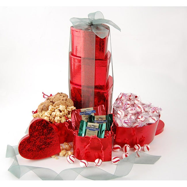 Holiday Hearts Gift Tower