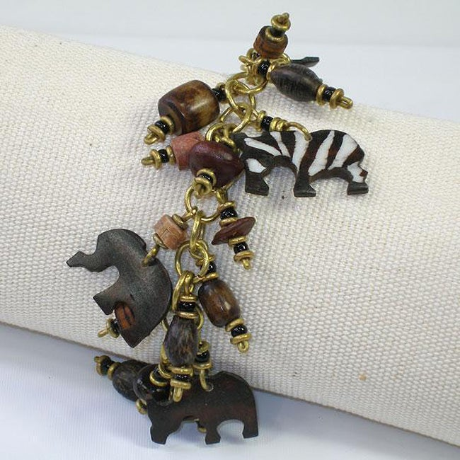 Brass Bone and Seeds Animal Charm Bracelet (Kenya)