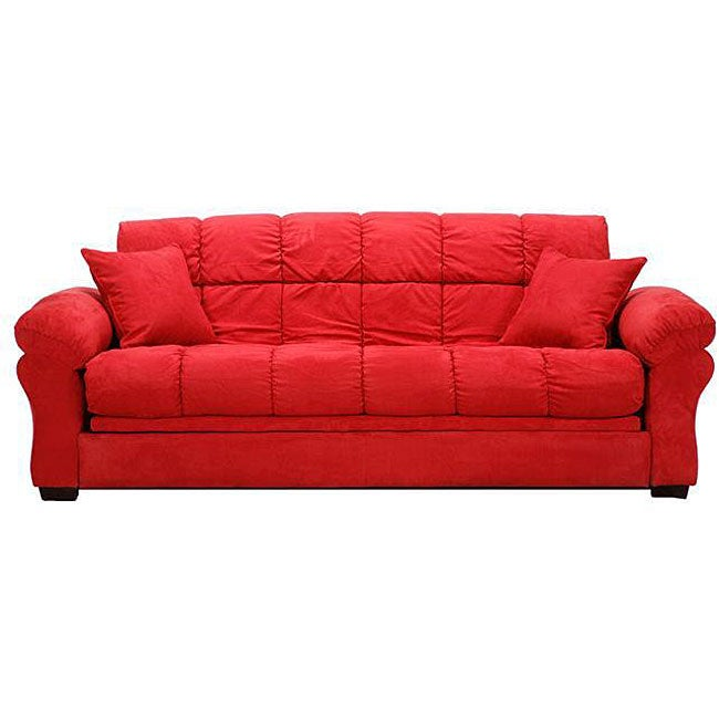 Reid Futon Crimson Red Microfiber Tufted Sofa Bed