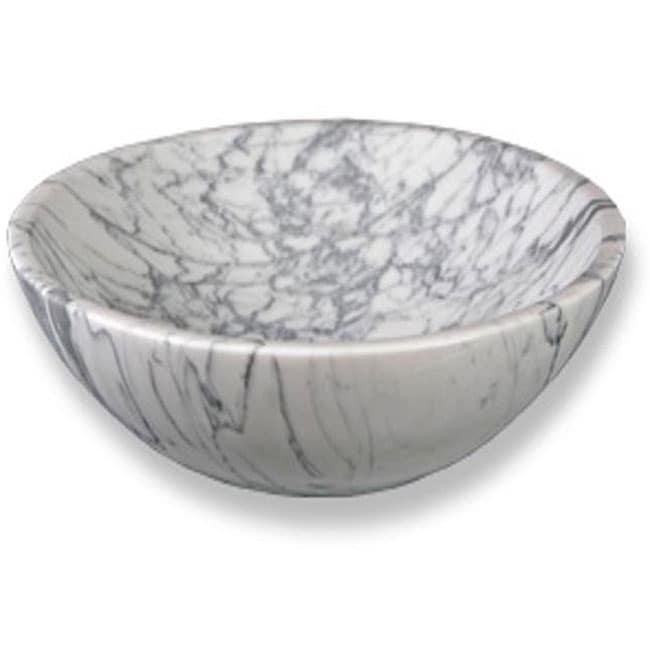 Baden Bath Round Italian Carrara White Marble Vessel Sink - 12309030 ...