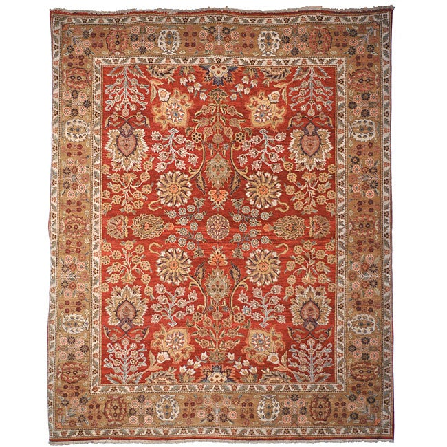 Treasures Hand-knotted Red/ Gold Wool Heirloom Rug (9' x 12')
