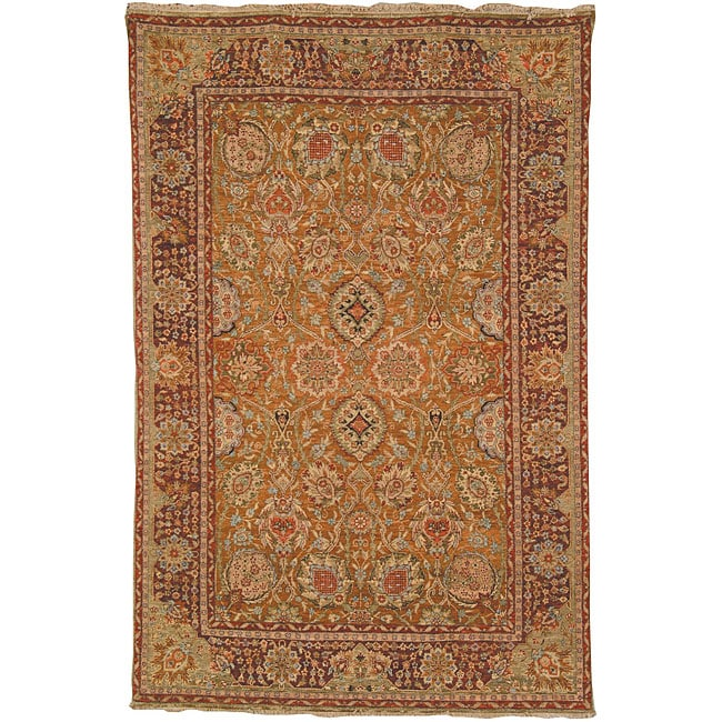 Heirloom Hand-knotted Kashan Gold Wool Rug (6' x 9')