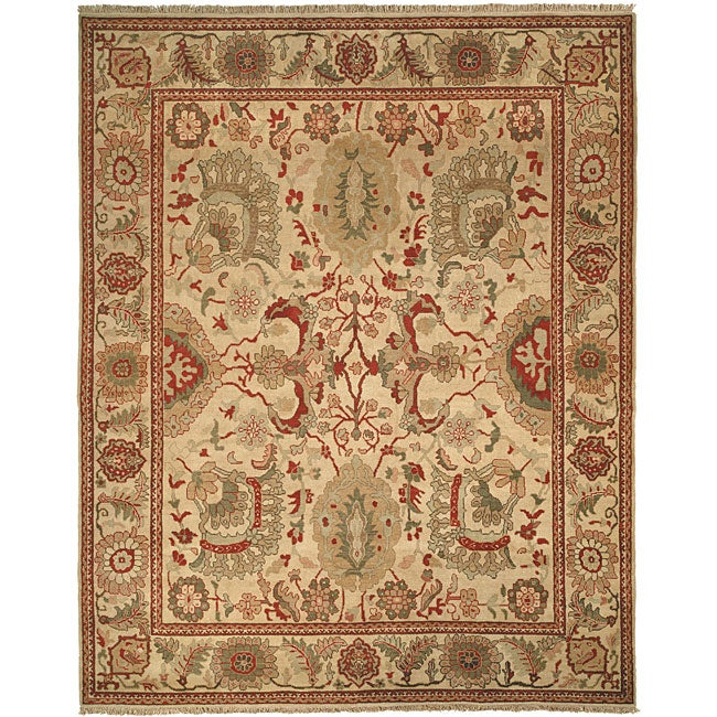 Farahan Hand-knotted Ivory Hand-spun Wool Rug (9' x 12')