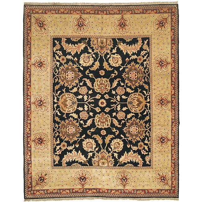 Oushak Hand-knotted Tabaz Black/ Ivory Wool Rug (6' x 9')