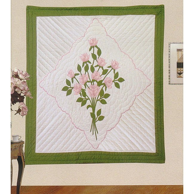 Hand-quilted Pink Handkerchief Throw