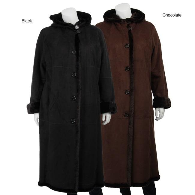 Gallery Women's Plus Size Full Length Faux Shearling Coat
