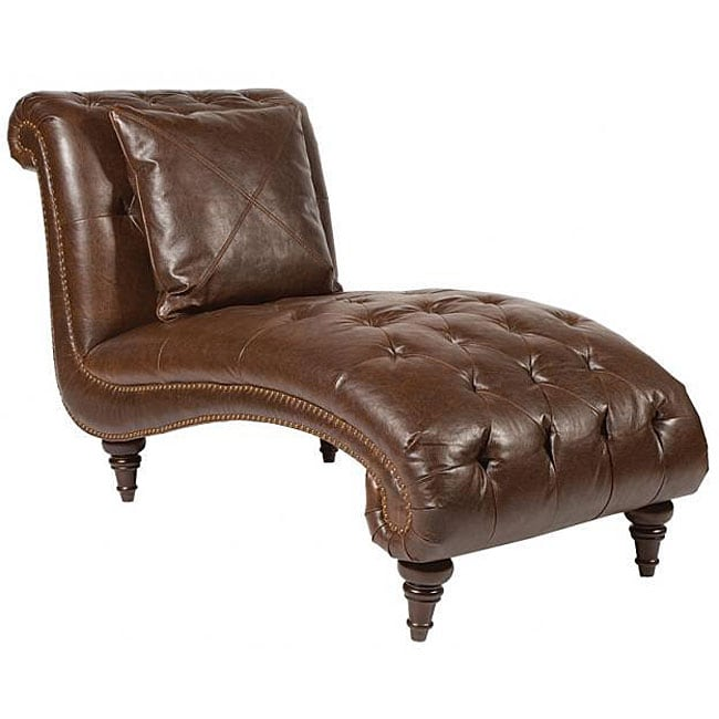Faux leather chaise lounge chair 12324998 overstock for Brown leather chaise lounge