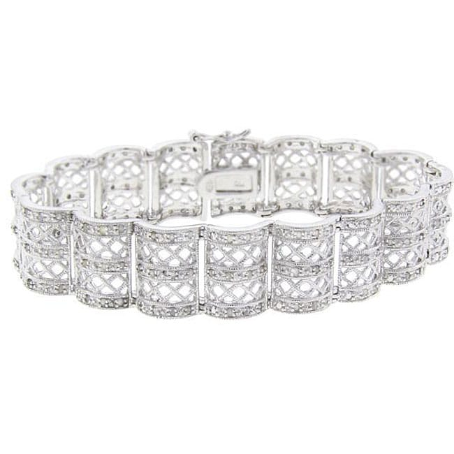 Eziba Collection Sterling Silver 1ct TDW Diamond Lattice Design Bracelet (J-K, I3) at mygofer.com