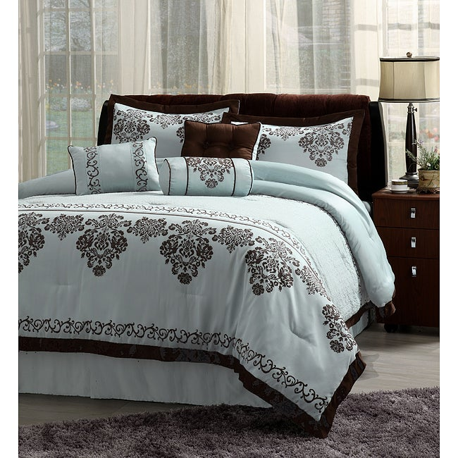 7pc fontain icy blue and brown cal king comforter bedding ensemble set