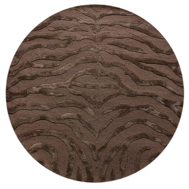 NuLOOM Handmade Zebra Brown Wool/ Faux Silk Highlights Rug