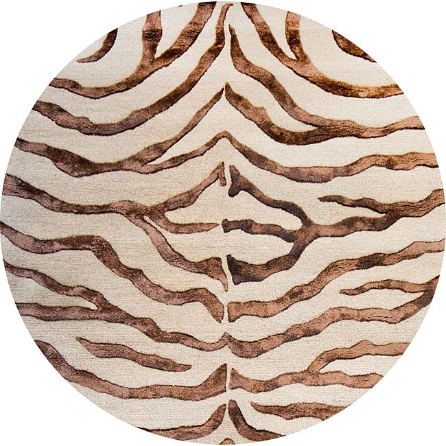 nuLOOM Handmade Zebra Brown Wool/ Faux Silk Highlights Rug (6' Round)